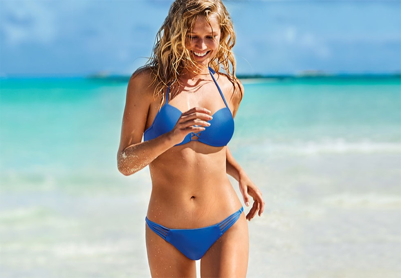 Toni Garrn rocks blue bikini in Calzedonia Swimwear's summer 2018 campaign
