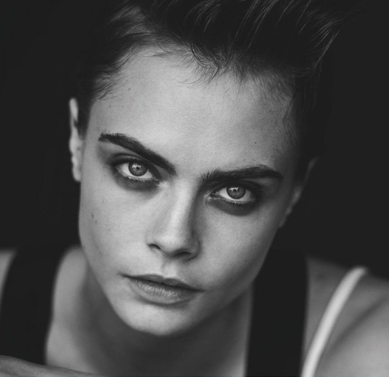 Ready for her closeup, Cara Delevingne wears full eyelashes for Douglas Cosmetics