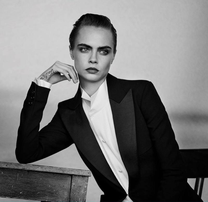 Cara Delevingne wears tuxedo jacket for Douglas Cosmetics