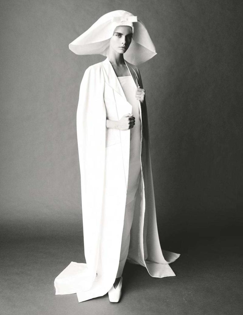 Cara Delevingne Takes On Bridal Fashion for Vogue UK