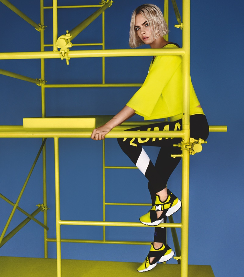 Shining in neon, Cara Delevingne fronts PUMA Muse Cut-Out sneaker campaign