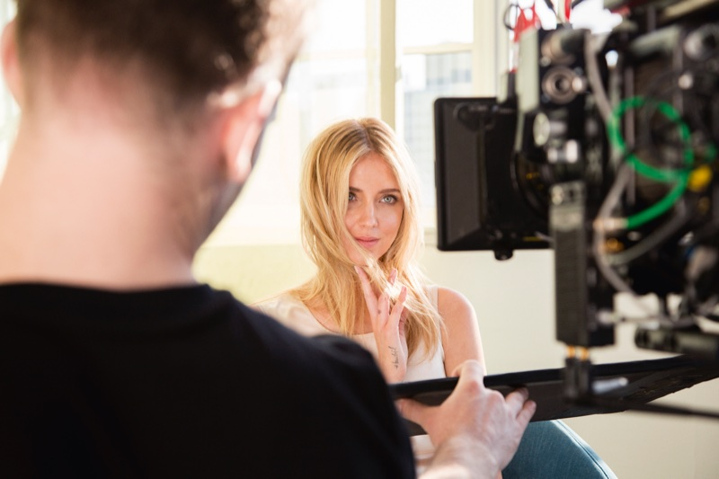 Influencer Chiara Ferragni on set at Intimissimi spring-summer 2018 shoot