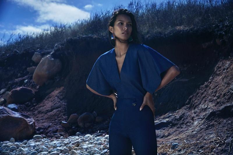 Lais Ribeiro poses in Montauk for Cushnie et Ochs' pre-fall 2018 campaign
