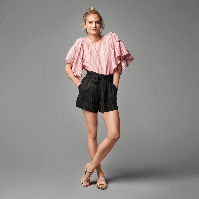 Actress Diane Kruger wears H&M ruffle top, shorts and sandals