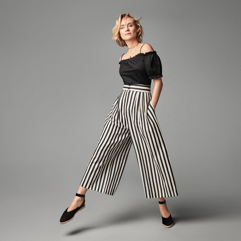 Actress Diane Kruger poses in H&M off-the-shoulder top, striped pants and flats