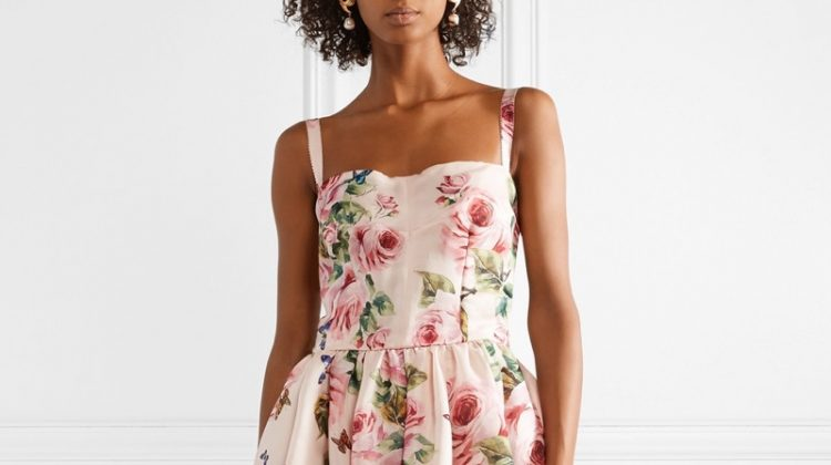 Dolce & Gabbana Pleated Floral-Print Silk-Organza Midi Dress $2,446.50 (previously $3,495)