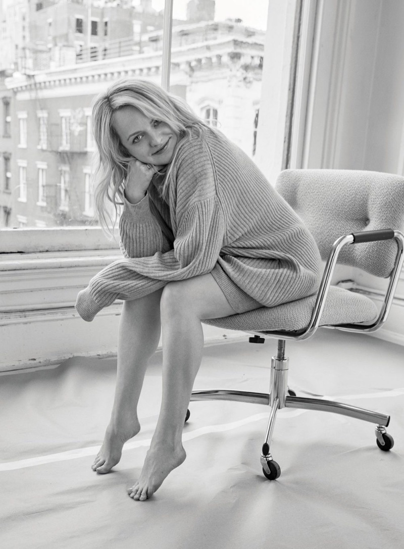 Elisabeth Moss wears Michael Kors Collection sweater and Pascale Monvoisin ring