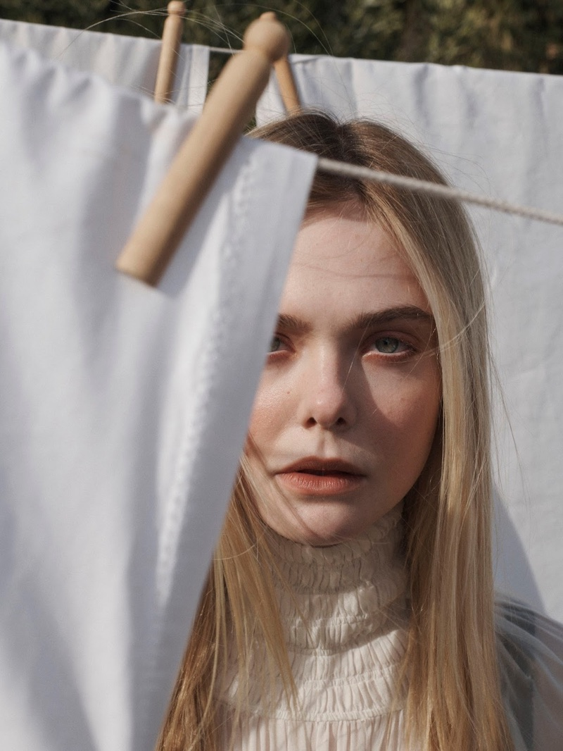 Ready for her closeup, Elle Fanning wears a Jil Sander dress