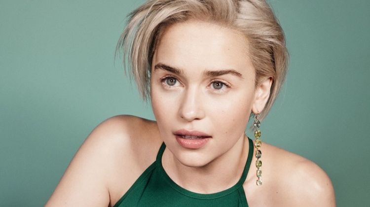 Emilia Clarke poses in Max Mara dress and Irene Neuwirth earring