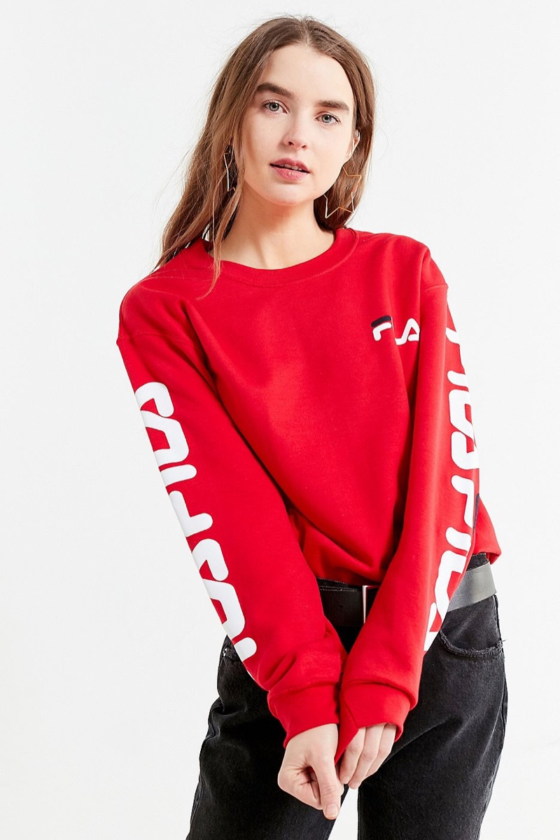 FILA x UO Double Logo Crew-Neck Sweatshirt in Red $55