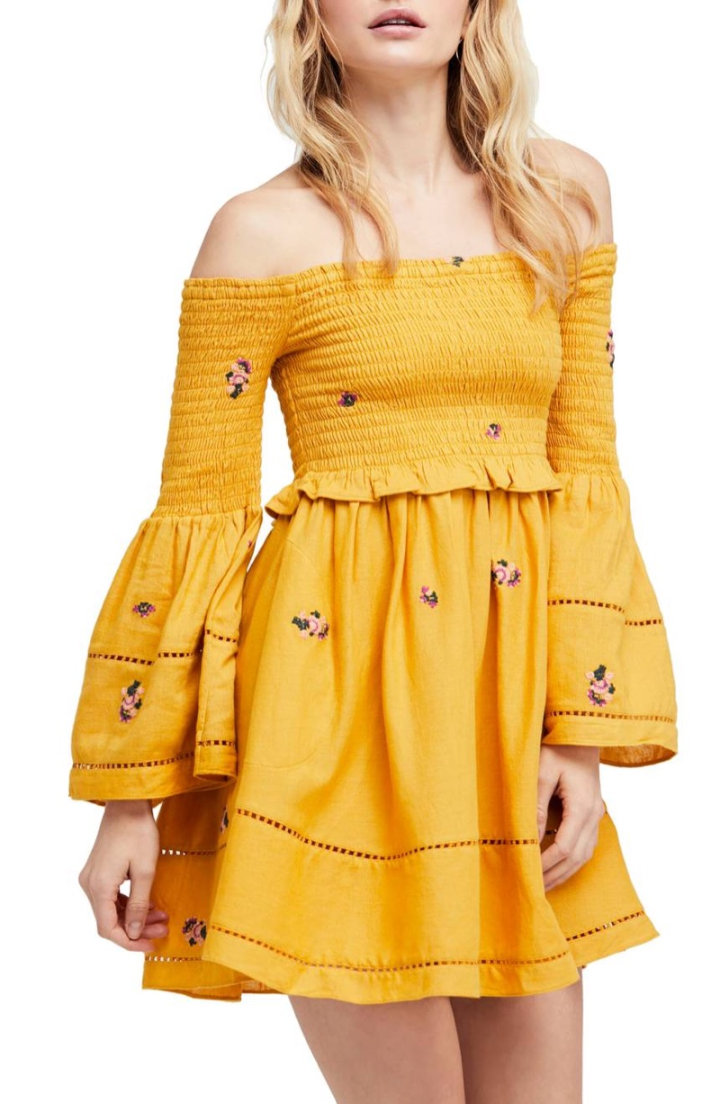 Free People Counting Daisies Embroidered Off Shoulder Dress $88.80 (previously $148)
