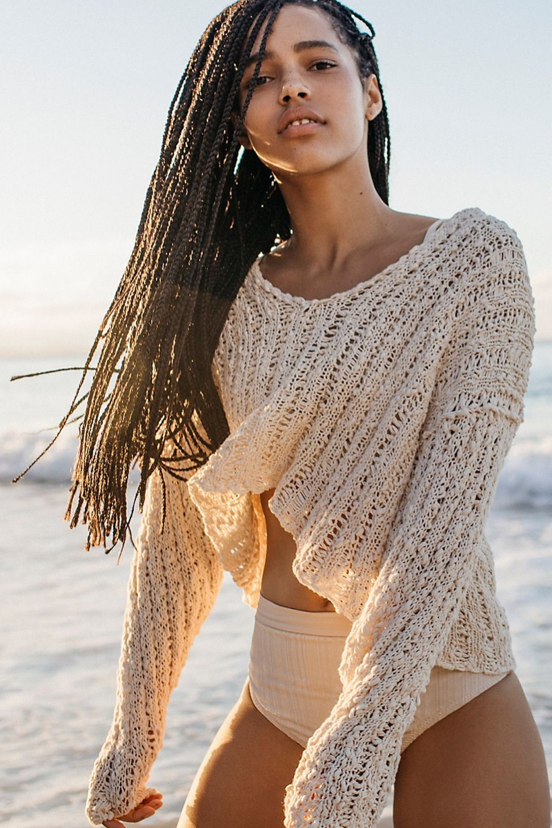 Free People Beach Comber V-Neck Sweater and TAVIK Pernille Slinky Rib Bikini Bottom