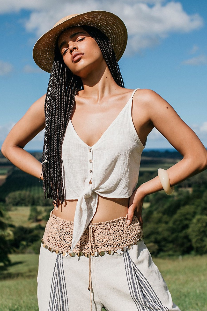 Intimately Free People Two Tie For You Cotton Crop Top, Free People In Dreams Embellished Harem Pants and Peter Grimm Garden Grove Straw Boater