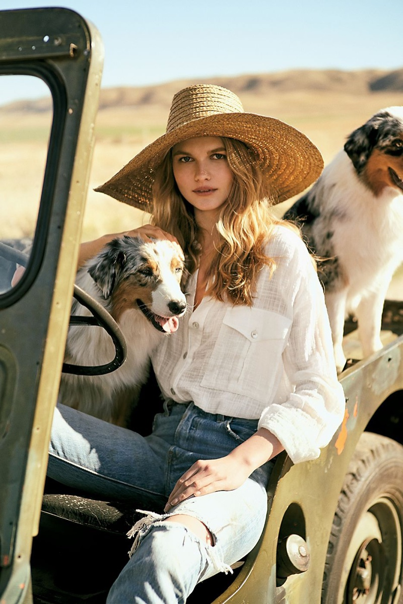 Free People Talk To Me Buttondown and ale by Alessandra Oceans Edge Raffia Straw Hat