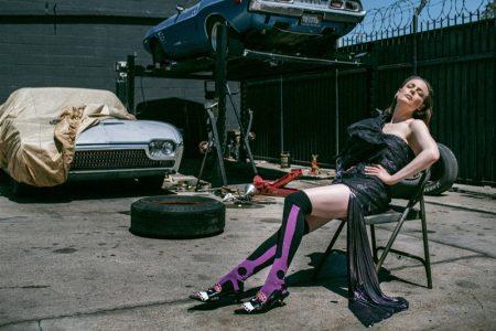 Actress Gillian Jacobs wears Alexandre Vauthier dress, Miu Miu socks and Prada shoes