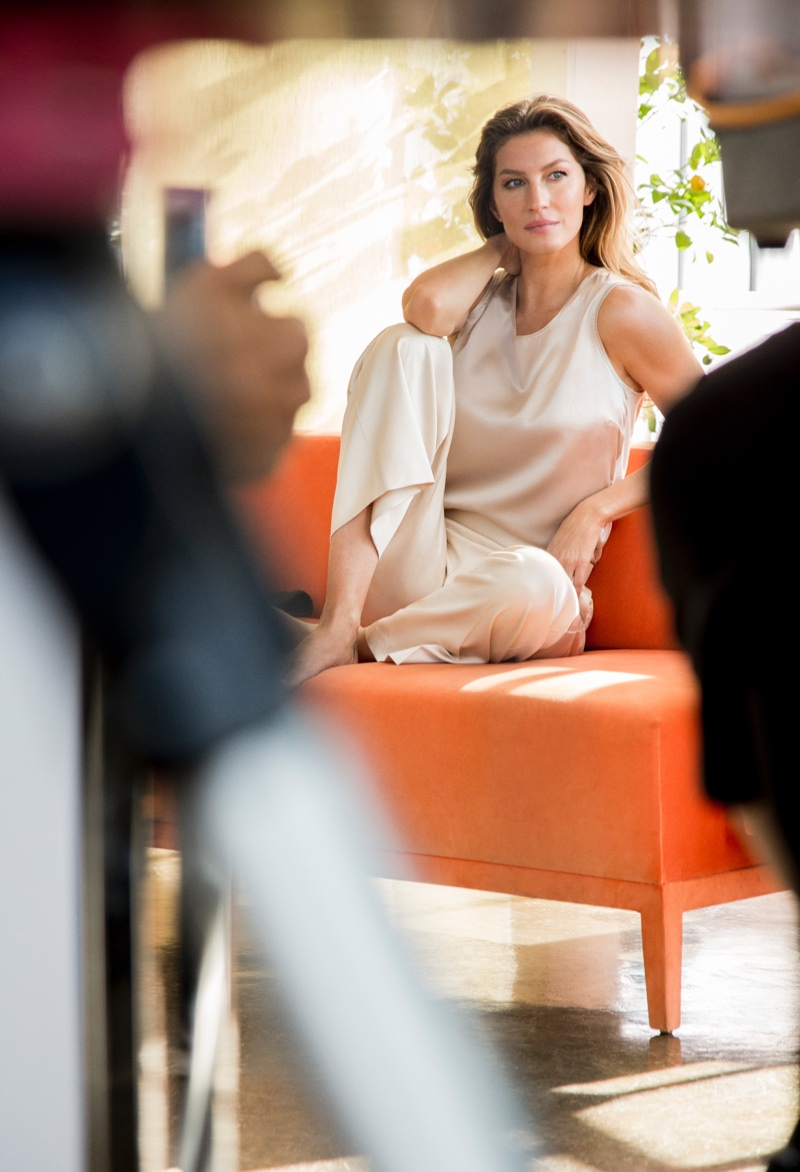 Gisele Bundchen on set at Intimissimi spring-summer 2018 shoot