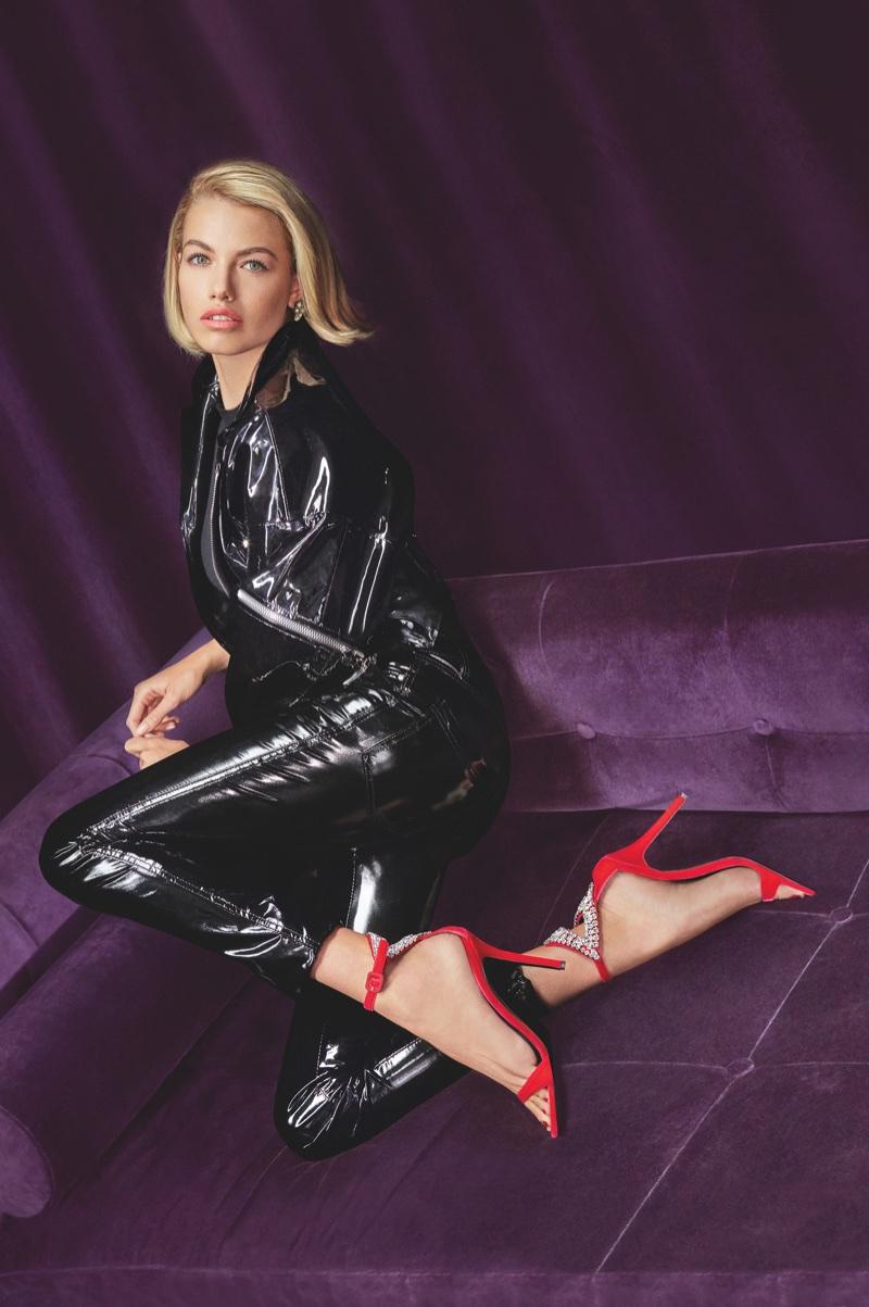 Hailey Clauson models Tricia sandals in Giuseppe Zanotti's fall-winter 2018 campaign