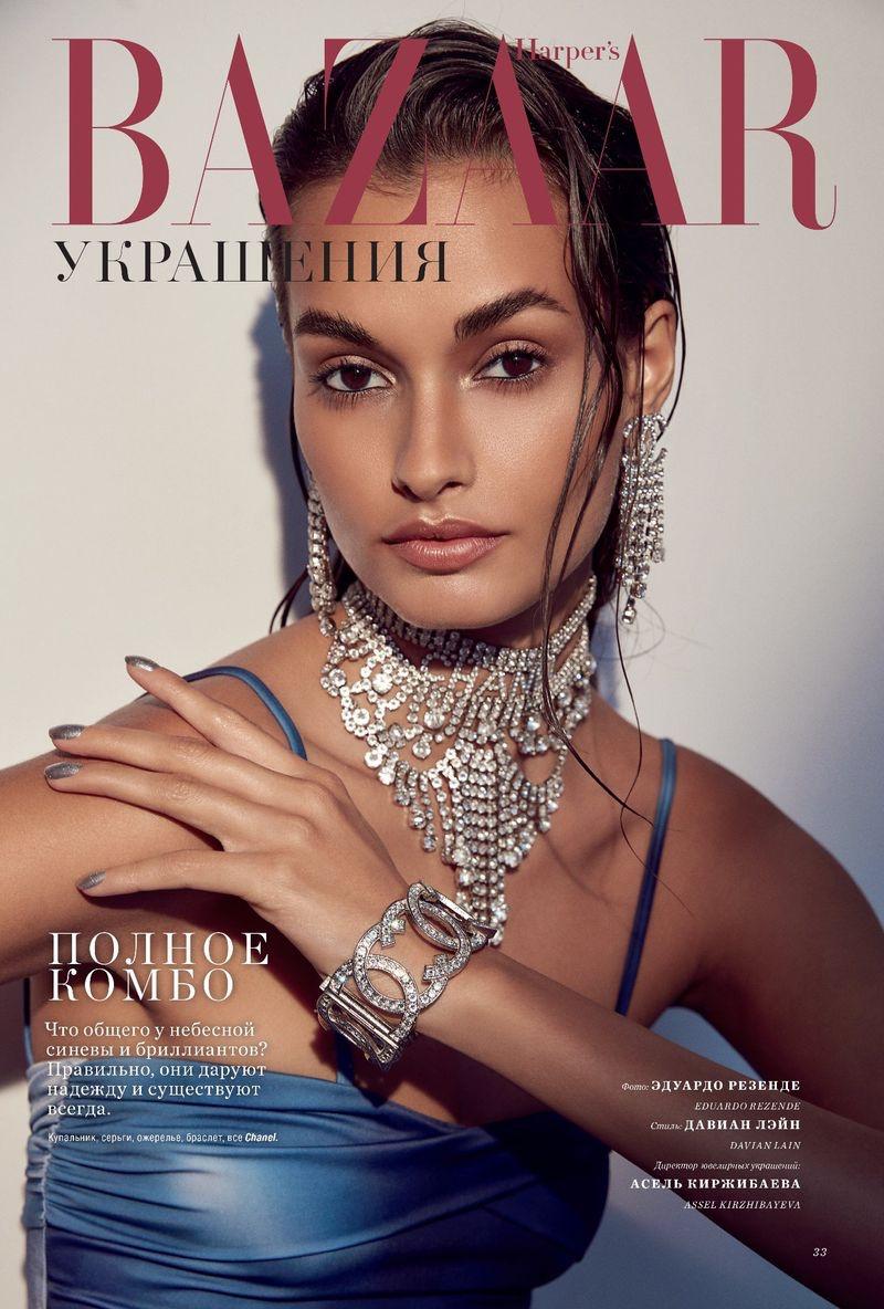 Gizele Oliveira Poses in Dazzling Gems for Harpers Bazaar Kazakhstan