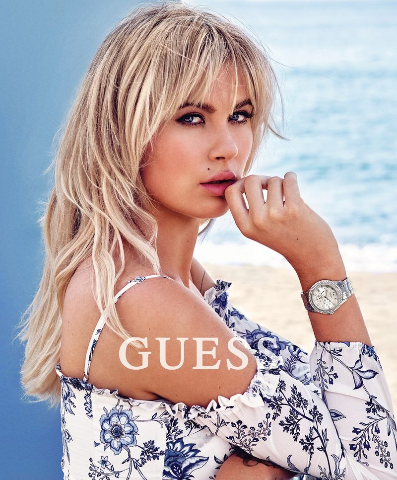 Ireland Baldwin poses in Malibu, California, for Guess Accessories spring-summer 2018 campaign