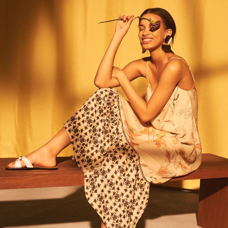H&M Long V-Neck Dress and Slides