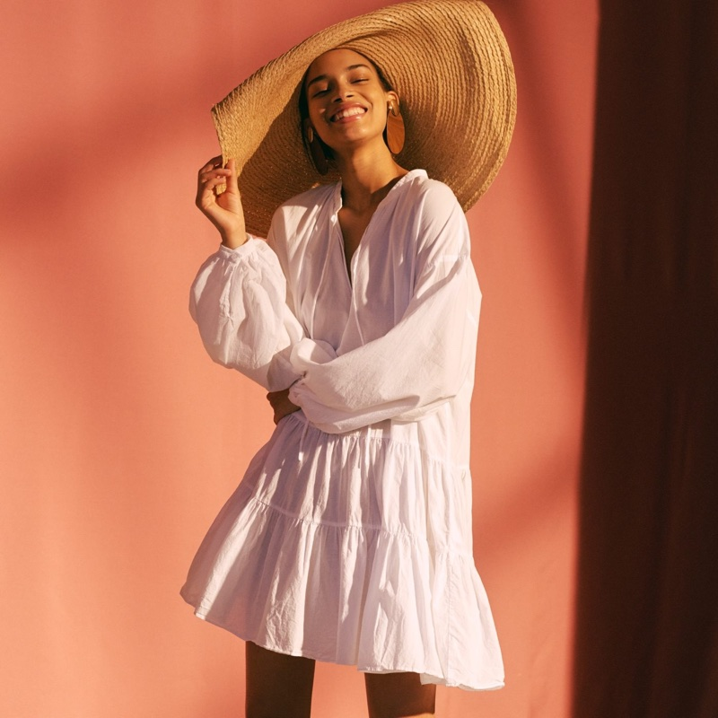 H&M Flounced Dress and Large Straw Hat