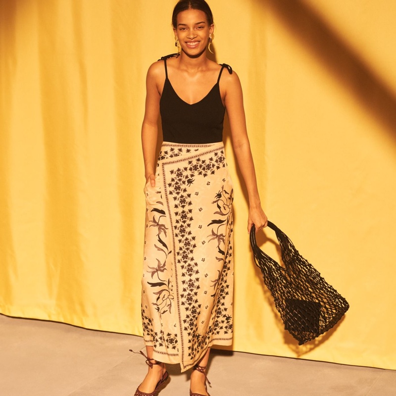 H&M Ribbed Bodysuit, Maxi Skirt and Net Bag