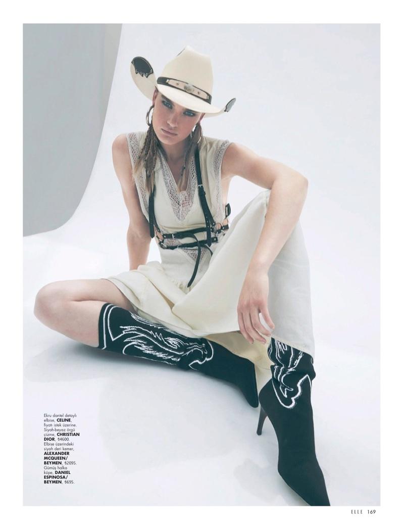 Isabel Scholten Models Rugged Western Styles for ELLE Turkey