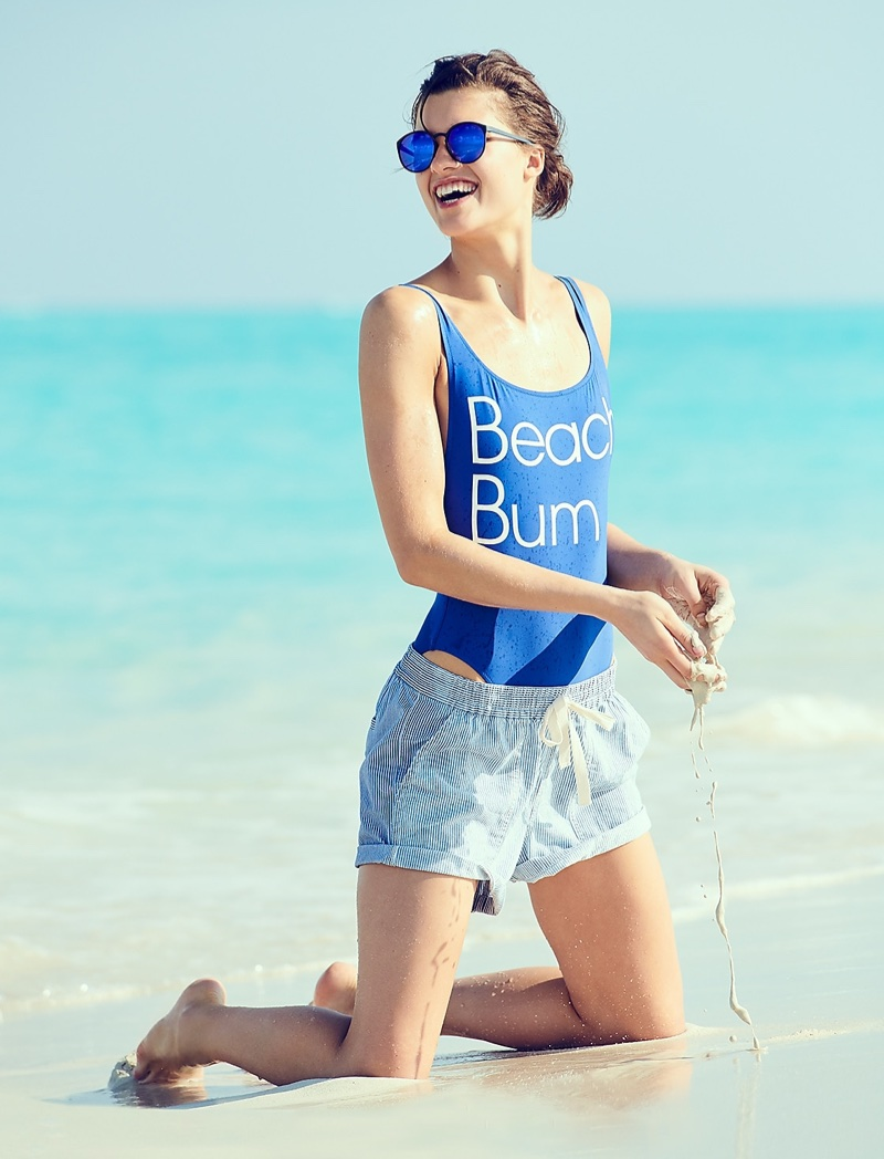 J. Crew Beach Bum Plunging Scoopback One-Piece Swimsuit, Point Sur Seaside Short in Stripe and Le Specs for J. Crew Swizzle Sunglasses