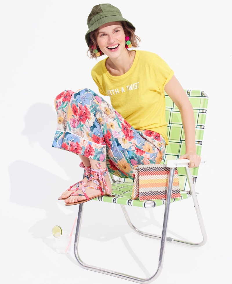 J. Crew With a Twist T-Shirt, Mesh Paneled Bucket Hat, J. Crew Collection Silk Pull-On Pant in Liberty Floral and Convertible Raffia Envelope Clutch in Rainbow Stripes