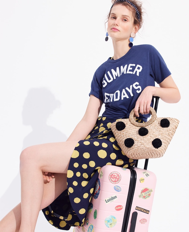 J. Crew Summer Fridays T-Shirt, Silk One-Shoulder Dress in Polka Dot and Small Ibiza Tote with Pom-Poms