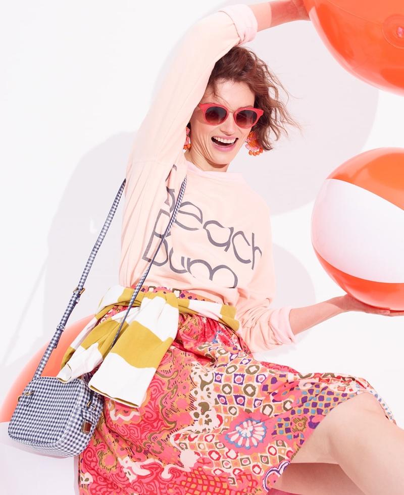 J. Crew Beach Bum Sweatshirt, Cotton Pleat-Front Skirt in Paisley Print, Mini Signet Bag in Italian Gingham Leather and Seaside Round Cateye Sunglasses