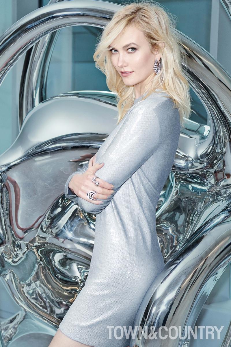 Model Karlie Kloss wears Ralph Lauren dress and de GRISOGONO jewelry