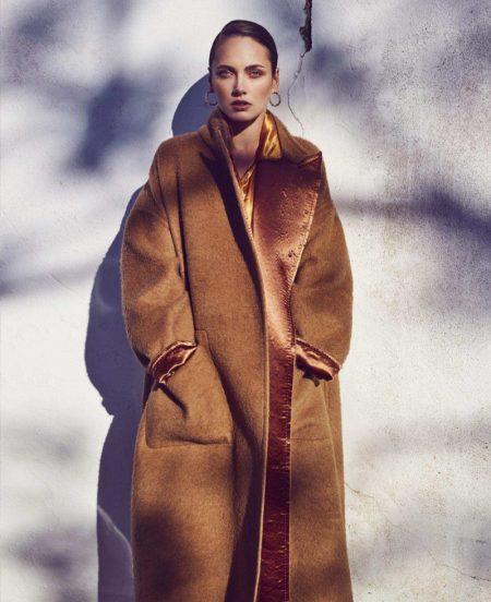 Karmen Pedaru Models the New Neutrals for Harper's Bazaar