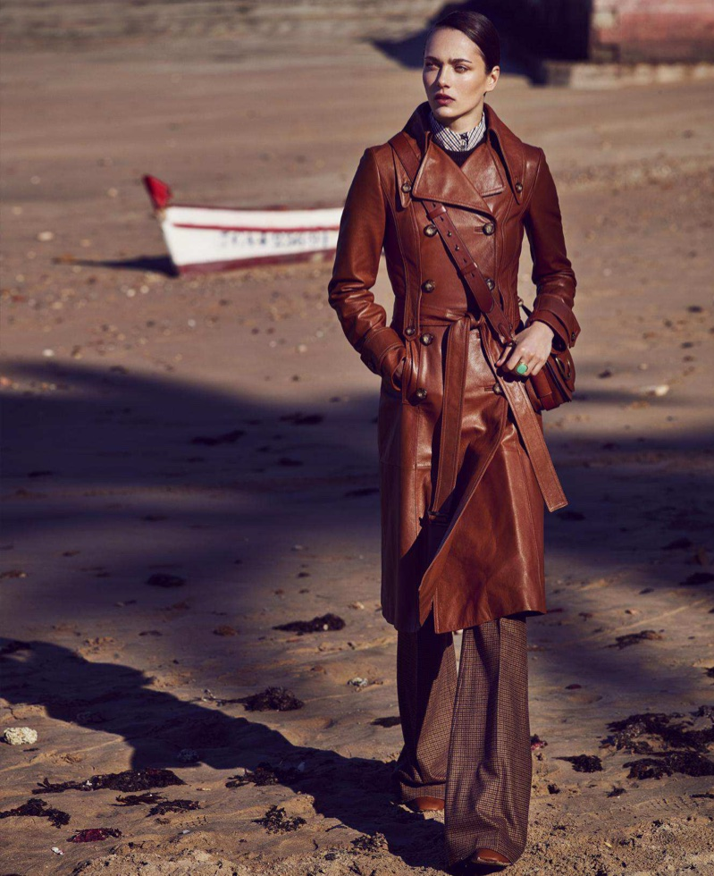 Karmen Pedaru Models the New Neutrals for Harper's Bazaar