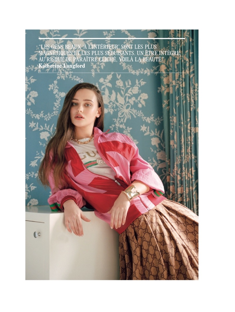 Katherine Langford poses in a complete look from Gucci