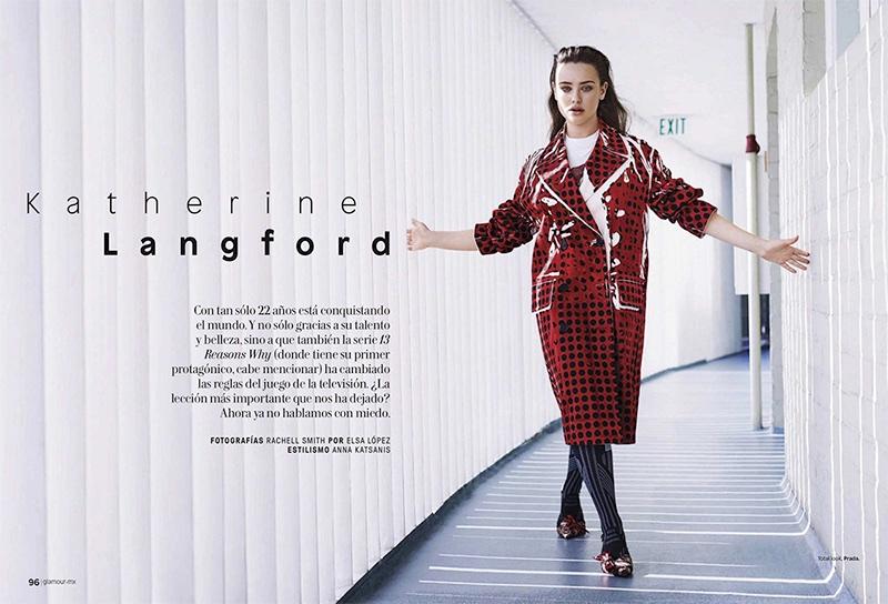 Katherine Langford poses in complete look from Prada