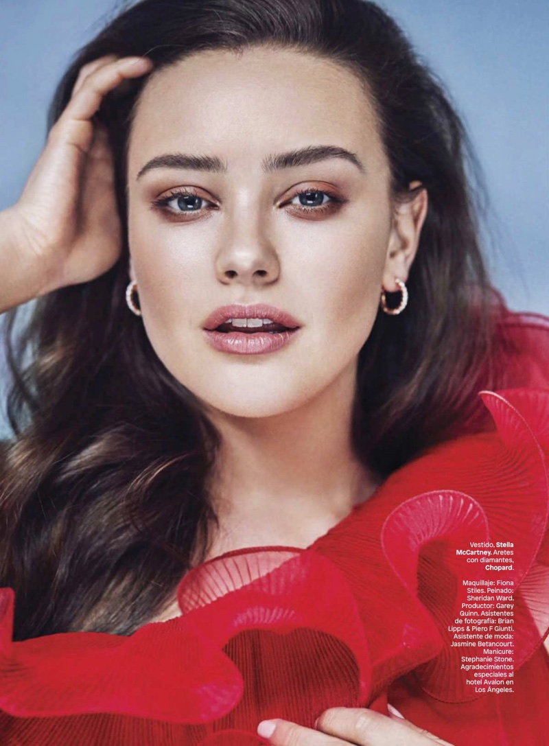 Ready for her closeup, Katherine Langford wears Stella McCartney dress and Chopard earrings