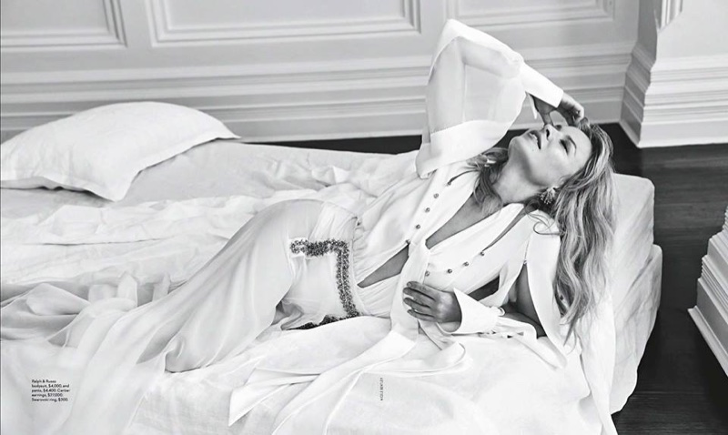 Posing in bed, Kylie Minogue wears Ralph & Russo bodysuits and pants
