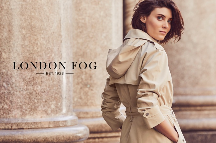 Model Alison Nix poses in a trench coat for London Fog's spring-summer 2018 campaign
