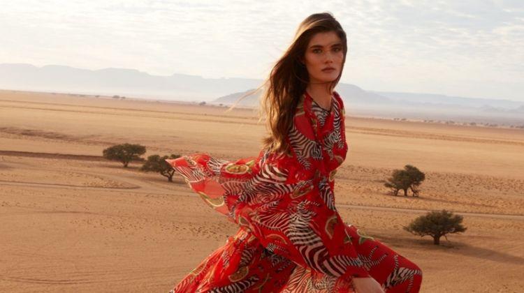Lucia Lopez Poses in Dreamy Designer Dresses for ELLE France