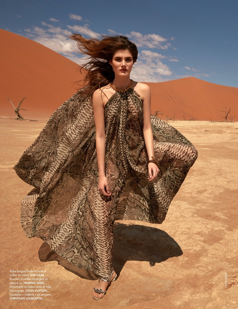 Lucia Lopez Poses in Dreamy Designer Dresses for ELLE France
