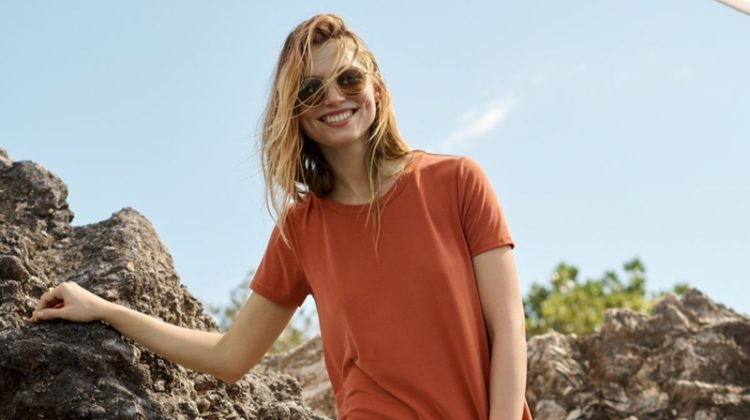 Madewell Sandwashed Swingy Tee Dress and Glitter Fest Aviator Sunglasses