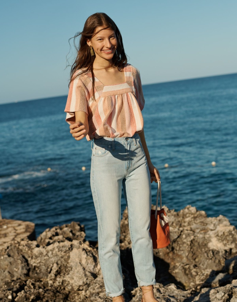 Madewell Texture & Thread Butterfly Top in Sherbet Stripe, The Perfect Summer Jean in Fitzgerald Wash and The Siena Convertible Bucket Bag