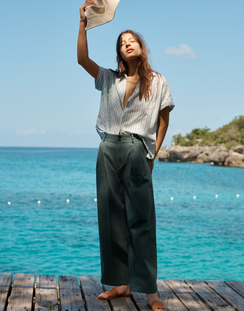 Madewell Central Shirt in Mint Stripe, Pleated Wide-Leg Pants, The Boardwalk Post Slide Sandal and Short-Brimmed Canvas Bucket Hat