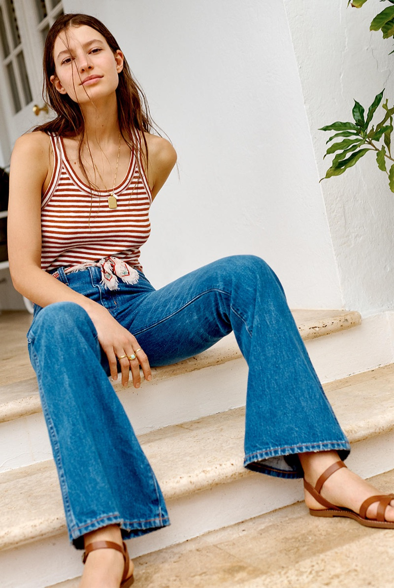 Madewell Audio Tank Top in Jodi Stripe and Rigid Flare Jeans