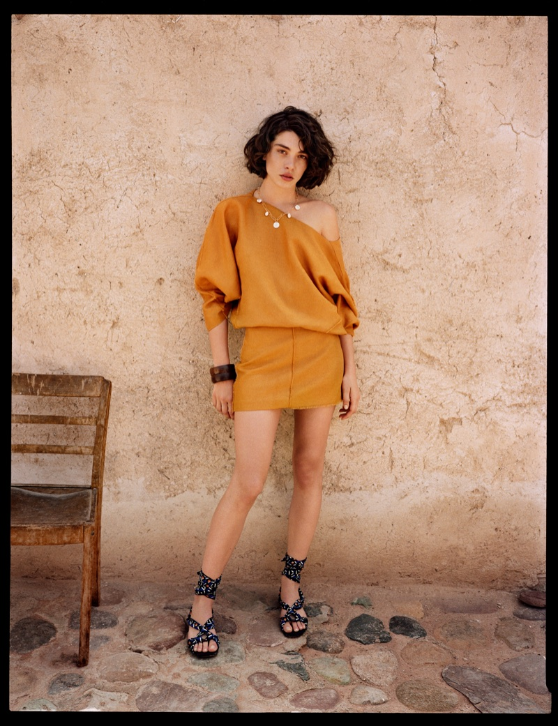 Steffy Argelich poses in Marrakech for Mango Summer Diaries spring-summer 2018 lookbook