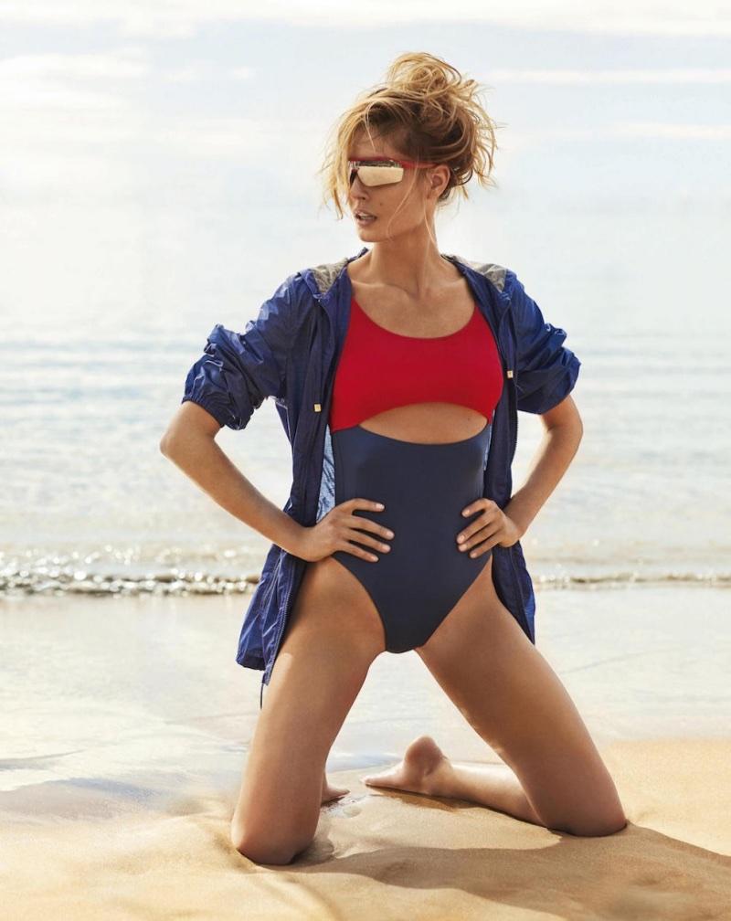 Nadja Bender Models Colorblocked Swimsuits for PORTER
