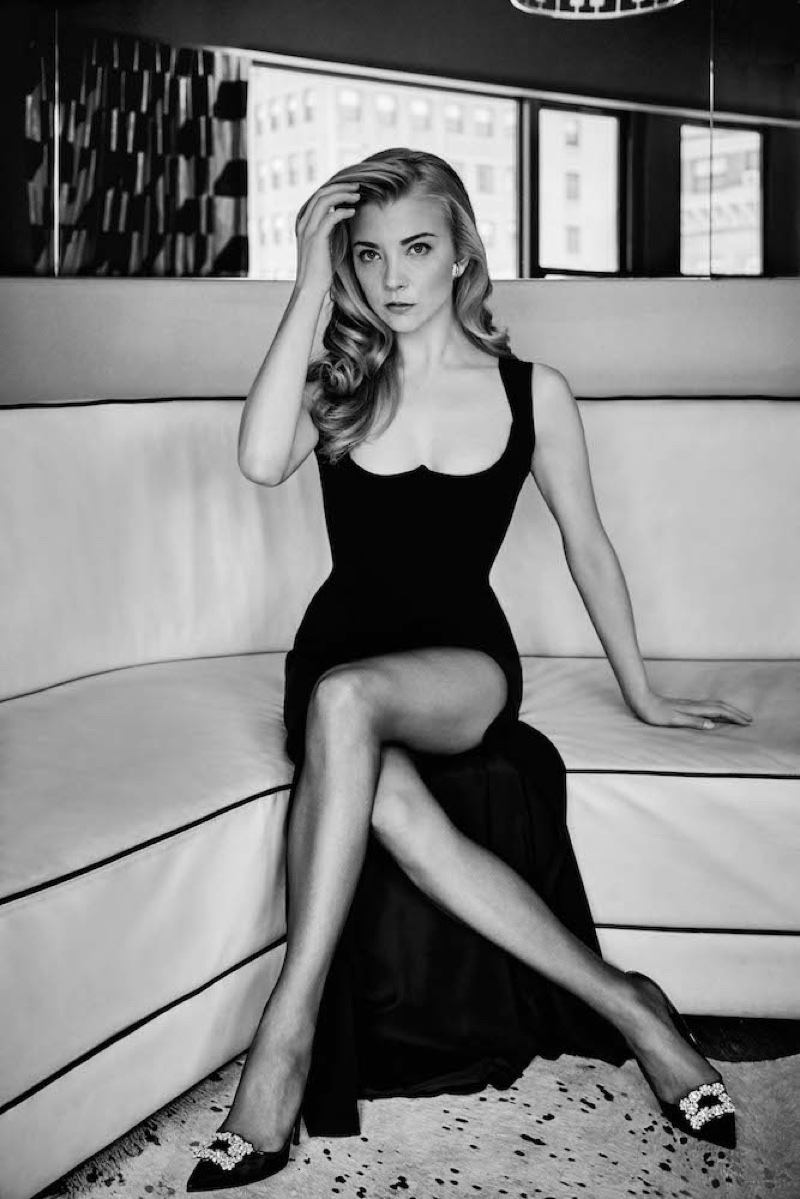 Natalie Dormer poses in black Versace dress