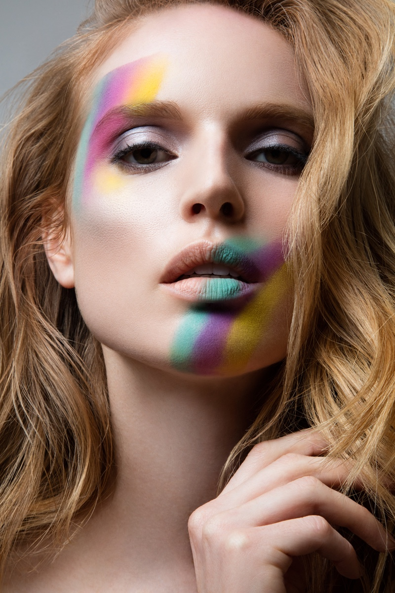 Jeff Tse captures Nell Rebowe in colorful makeup looks.