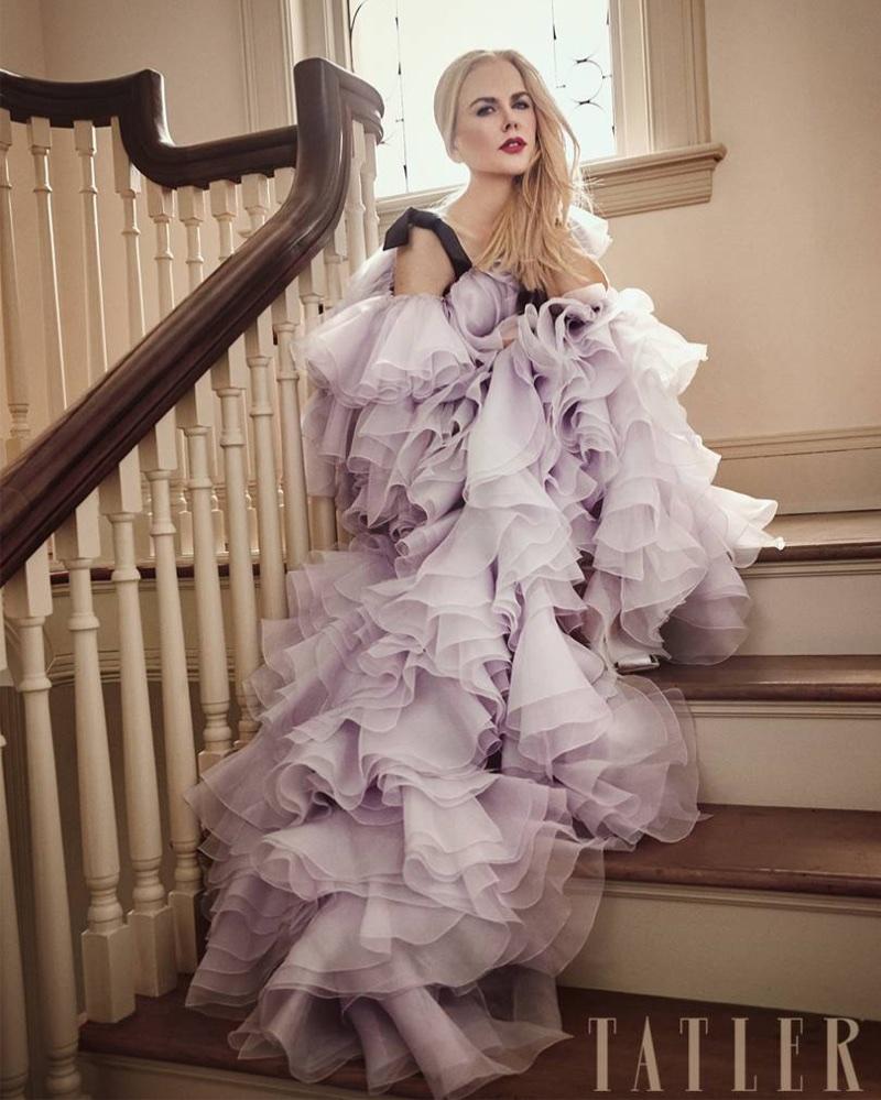 Posing in ruffles, Nicole Kidman wears Giambattista Valli Haute Couture gown